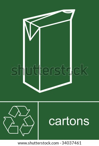 Recycling Sign Cartons - stock photo