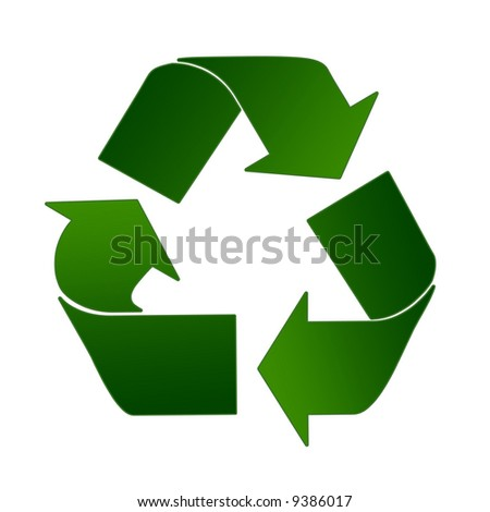 Recycling Sign In Light And Dark Green - stock photo