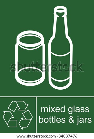 Recycling Sign Mixed Glass - stock photo