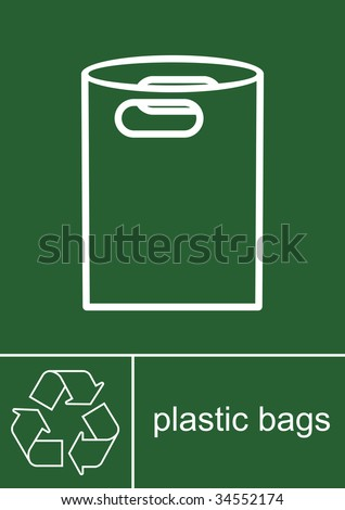 Recycling Sign Plastic Bags - stock photo