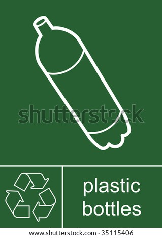 Recycling Sign Plastic Bottles - stock photo