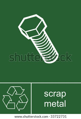 Recycling Sign Scrap Metal - stock photo