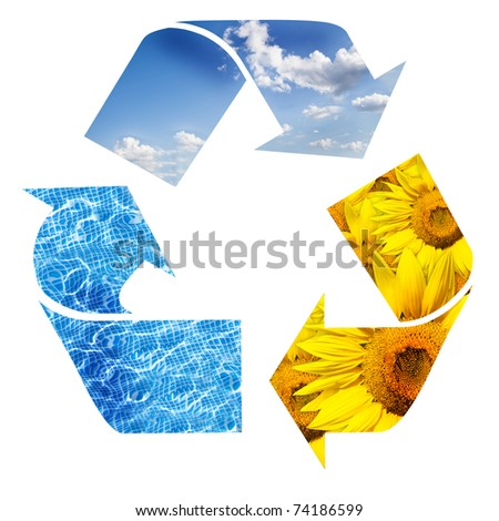 recycling sign with images of nature - stock photo