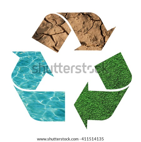 Recycling sign with nature symbols - stock photo