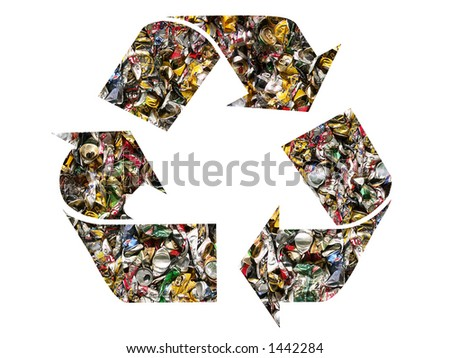 Recycling symbol filled in with crashed beer cans - stock photo