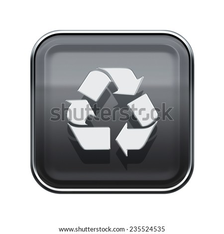 Recycling symbol glossy icon grey, isolated on white background - stock photo