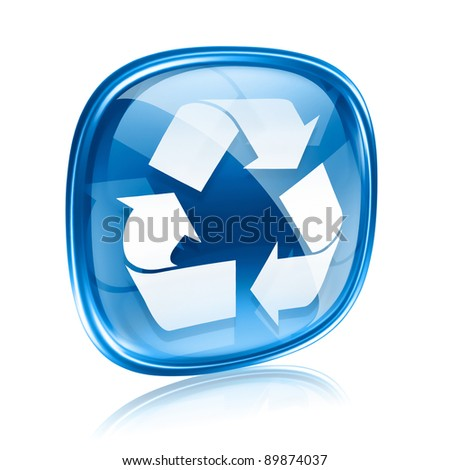 Recycling symbol icon blue glass, isolated on white background. - stock photo
