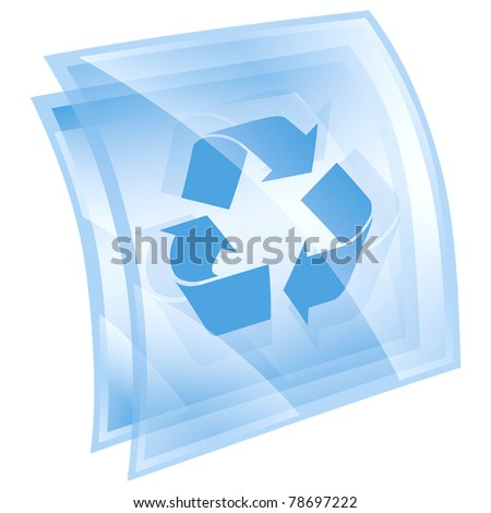 Recycling symbol icon blue, isolated on white background. - stock photo