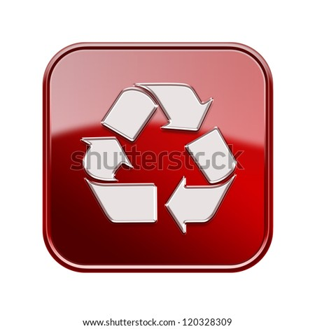 Recycling symbol icon glossy red, isolated on white background - stock photo