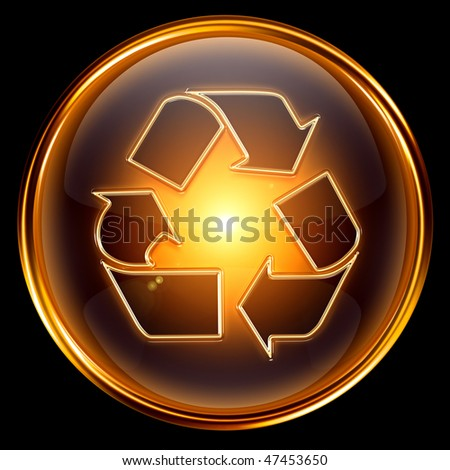 Recycling symbol icon gold, isolated on black background. - stock photo