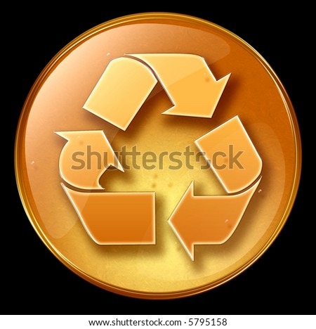 Recycling symbol icon, isolated on black background - stock photo