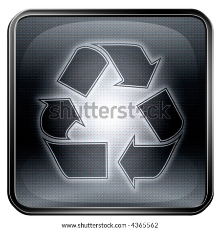 Recycling symbol icon, isolated on white background. - stock photo
