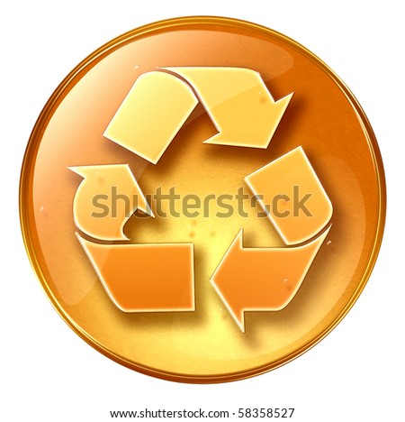 Recycling symbol icon yellow, isolated on white background. - stock photo