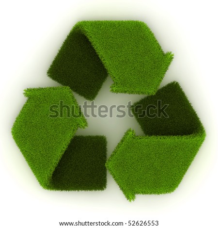 Recycling Symbol in Grass.
