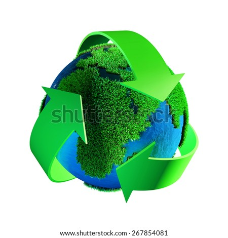 Recycling symbol isolated on a white background - stock photo