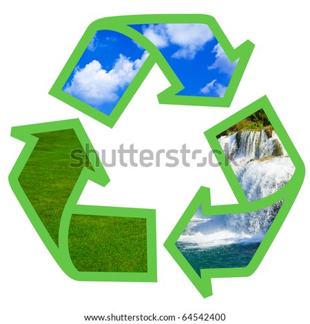 Recycling symbol isolated on white background - stock photo