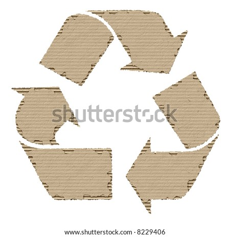 recycling symbol made of cardboard - stock photo