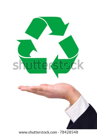 Recycling symbol on a business man's hand isolated on white. - stock photo