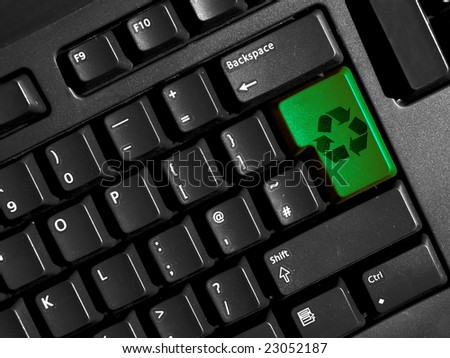 recycling symbol on computer keyboard