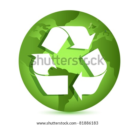 Recycling symbol over Earth globe Conceptual illustration - stock photo
