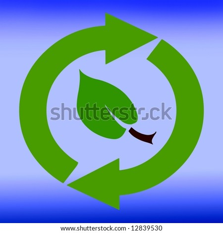 Recycling symbol sign environment leaf