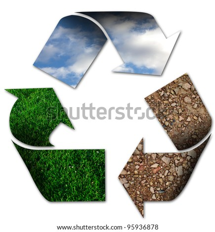 Recycling symbol with sky, grass and earth - stock photo