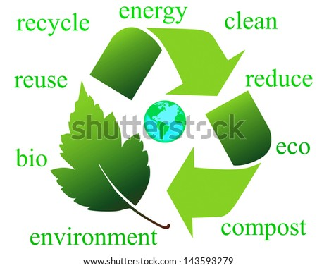 Recycling symbols and text, environmental concept - stock photo