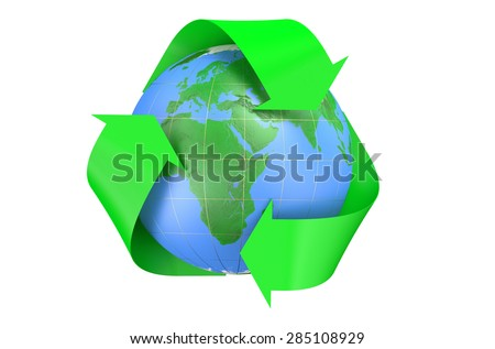 Recycling World Concept isolated on  white background  - stock photo