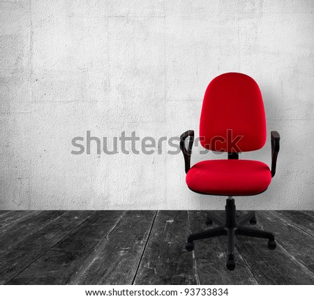 Red a chair in old white  interior - stock photo