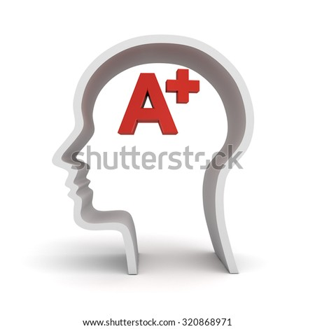 Red A plus in human head shape isolated over white background - stock photo