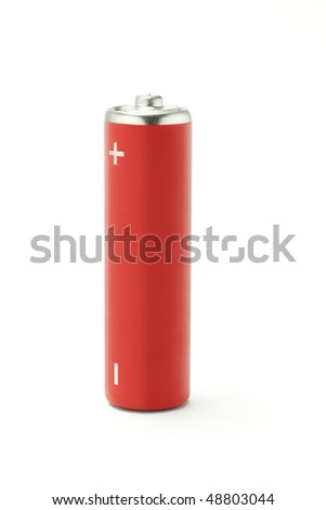 Red AA size battery on white background - stock photo