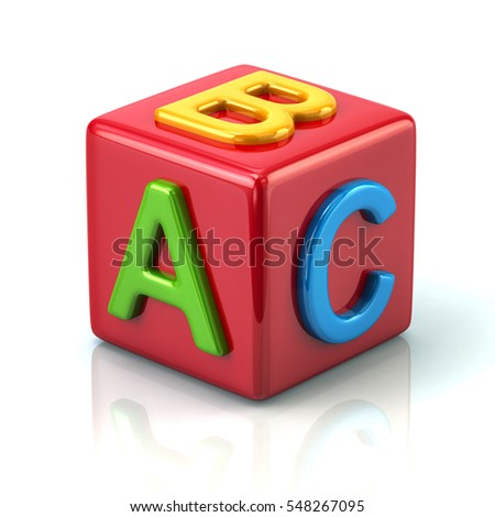 Red abc block 3d illustration on white background
