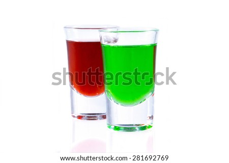 red absinthe and green absinthe - stock photo
