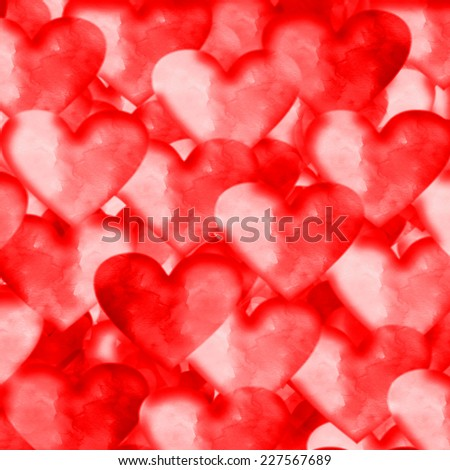red abstract background watercolor hearts pattern  - stock photo