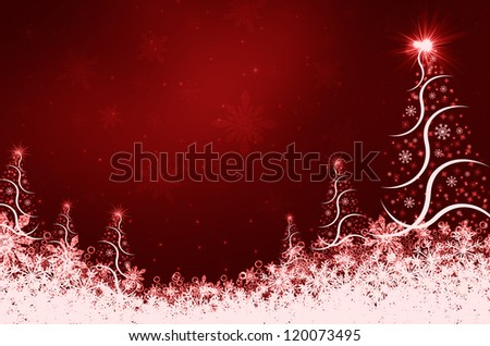red abstract background with christmas tree - stock photo