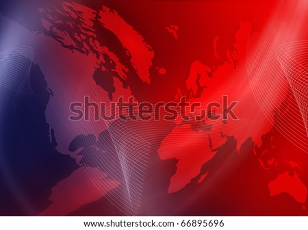 Red abstract background with earth, lights and fractals. - stock photo