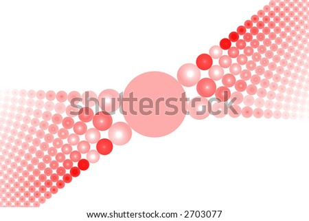 Red abstract balls large symmetric background over white - stock photo