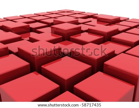 Red abstract boxes - stock photo