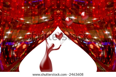 Red abstract curtains at a window with a silhouette of the ballerina and spheres hearts. A photo with elements computer diagrams - stock photo