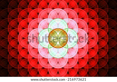 Red abstract fractal background with a detailed decorative flower of life pattern spreading from the center which is in bright green, orange and yellow colors - stock photo
