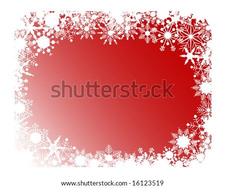 red abstract frame with snowflakes - stock photo