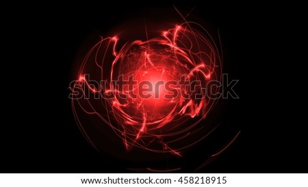 Red Abstract Lines Energy Electricity. Line Twist in the Sphere in the Form of Spirals. Shock Waves Emanate From the Center. on a Black Background Glow Lines in the Form of a Sphere. 4k Resolution