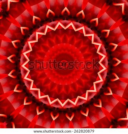 red abstract mandala design. beautiful round background - stock photo