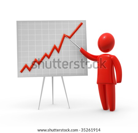 Red abstract person pointig at graph on whiteboard. - stock photo