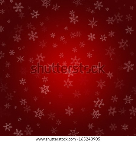 Red Abstract Radial Gradient Snowflake Christmas Background - stock photo