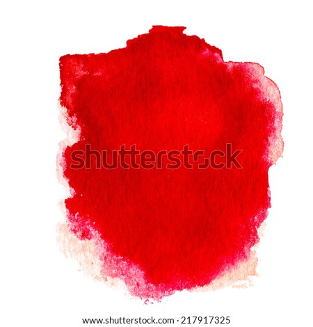 Red  Abstract  watercolor background isolated on white. Water color spot over textured paper background.  - stock photo