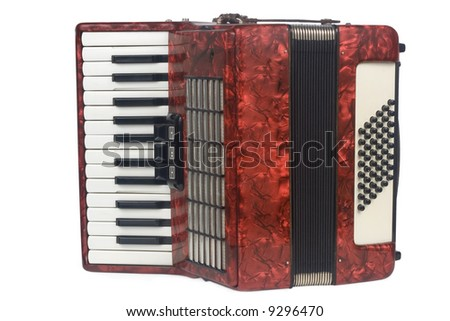 Red Accordion  isolated on white background