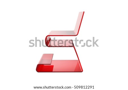 Red acrylic chair isolated on white background concept 3d rendering