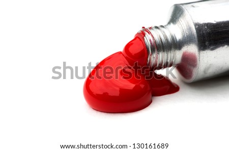 Red acrylic paints in tubes - stock photo