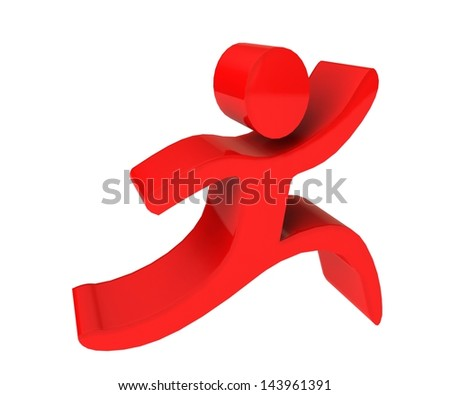 Red active human figure 3 D background - stock photo